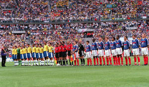 1998 World Cup Final. St. Denis, France. 12th July, 1998. France 3 v Brazil 0.   The two teams line up with officials before the match  .