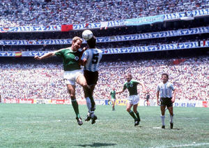 1986 World Cup Final. Azteca Stadium, Mexico. 29th June, 1986. Argentina 3 v West Germany 2.  Argentina's Jose Luis Brown battles for the ball with West Germany's Karl Heinz Rummenigge.