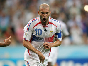 France's Zidane celebrates his goal against Portugal during their World Cup 2006 semi-final soccer match in Munich